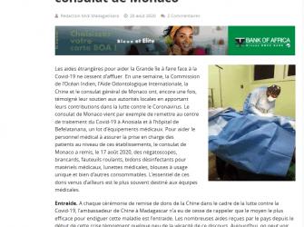 Dotation de matériels et d'équipements médicaux à des centres de traitement du Covid-19